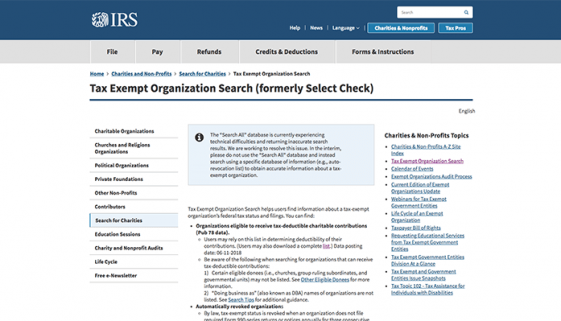 IRS Debuts New Tax Exempt Organization Search Tool-williamscpa-blog