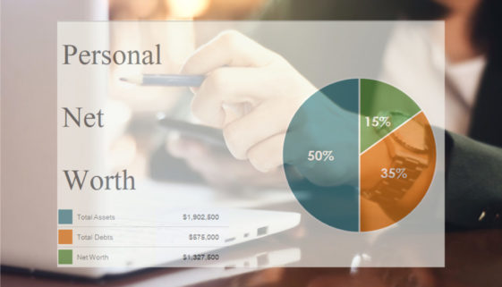 Example of personal net worth chart on work space background. Financial management concept